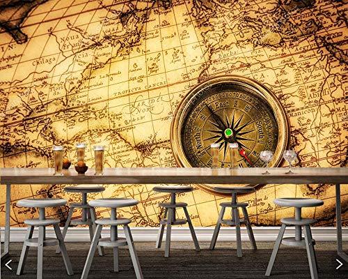 Mbwlkj Brújula Vintage Mapa Del Mundo Antiguo Papel pintado 3D Sala De...