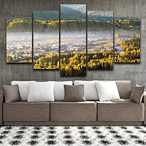 mmwin HD Gedruckt Leinwand Poster Modulare Bilder Wohnkultur 5 Panel Nebel Dorf Wald Landschaft d Wandkunst Wohnzimmer -