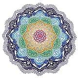 Vandot Strandtuch Mandala Wandtuch Beach Towel Runderes Umschlagtuch Schal für Sommer Tischdeck Beach Picknick Teppich Yoga Matte Indischen Handtuch Polyester /Chiffon stoff Dünn Purple