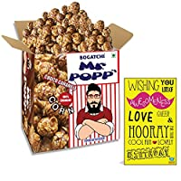 BOGATCHI Mr.POPP's Dark Chocolate Popcorn, 100% Crunchy HandCrafted Gourmet Popcorn Snacks | NO Microwave needed | Best Movie / TV Time Snack, Perfect Birthday Gift for father , 250g + FREE Happy Birthday Greeting Card