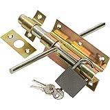 KOTARBAU® Deurklink boutgrendel 100 mm aan beide zijden deurgrendel slotgrendel met hangslot verzinkt geel