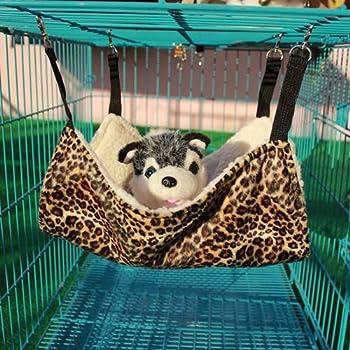 Zimo Chat Hamac Lit Hanging Cage Leopard Imprimer Sac de Couchage (L)