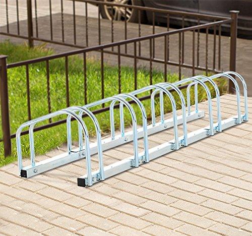 Homcom - Rastrelliera Portabiciclette Parcheggio per 5 Biciclette Tubi d'acciaio 130 × 33 × 27cm