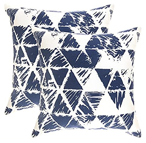 TreeWool, (Pack of 2) Cotton Canvas Ikat Triangle Geometric Accent Decorative Cushion Covers (45 x 45 cm, Navy Blue & White)