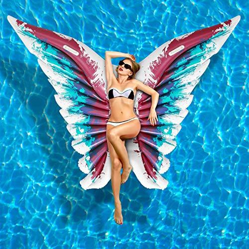 iBaseToy Aufblasbare Pool Float, Engelsflügel Aufblasbare Schwimmende Floß PVC Pool Liege für Sommer Schwimmbad Party, Schmetterlingsform Blow up Strand Spielzeug für Kinder und ()