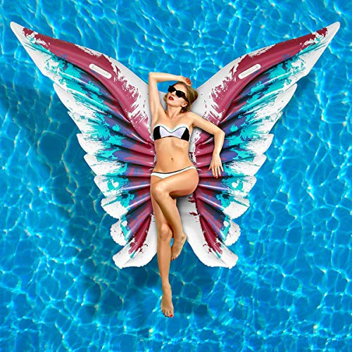 iBaseToy Aufblasbare Pool Spielzeug, Engelsflügel Aufblasbare Matratze Pool PVC Pool Float Sommer Schwimmbad Spielzeug, Schmetterlingsform Aufblasartikel Strand Spielzeug für Erwachsene & Kinder - Pool Float
