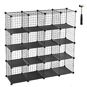SONGMICS 16 Cubes de Rangement en Treillis Metallique, Placard, Armoire avec Étageres Modulaires, Noire LPI44H