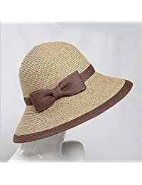 KIKIYA Sombrero de Paja Grande Sombrero de Sol Mujer Verano Playa Capucha  Grande Plegable Floppy Fedora 0642fd16111