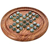 #4: Handcrafted Wooden Games Solitaire Board with Glass Marbles 9 Inches Made of Sheesham Wood