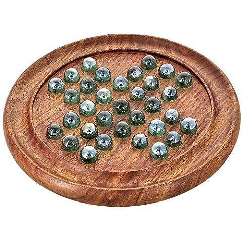 solitaire en bois - Plateau de jeu en bois et billes en verre - Cadeau unique