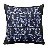 Home Dekorative Marineblau und Weiß Wintersweet Englisch Alphabet bedruckt Überwurf Kissenbezug Reißverschluss Kissenbezug für Schlafzimmer, Colored, 40,6 x 40,6 cm (16 x 16 Zoll)