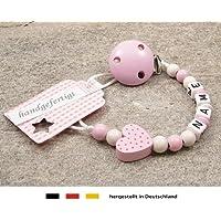 kleinerStorch Baby Schnullerkette mit Wunschnamen - Mädchen Motiv Herz rosa