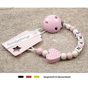 kleinerStorch Baby Schnullerkette mit Wunschnamen – Mädchen Motiv Herz rosa