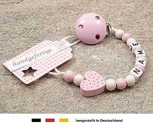 Baby SCHNULLERKETTE mit NAMEN - Schnullerhalter mit Wunschnamen - Mädchen Motiv Herz in rosa