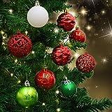 Valery Madelyn 34-tlg 6cm Weihnachten Traditionelle Bruchsicher Weihnachtskugeln Dekoration in Rot, Grün und Weiß, inklusive 34 Metallhaken