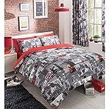 Juego de funda nórdica y funda de almohada, diseño de Londres vintage, color gris y rojo, mezcla de algodón, gris y rojo, matrimonio