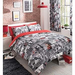 just contempo bettw sche set klassische london motive in grau und rot double k che. Black Bedroom Furniture Sets. Home Design Ideas