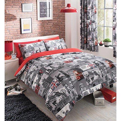 Juego de funda nórdica y funda de almohada, diseño de Londres vintage, color gris y rojo, mezcla de algodón, gris y rojo, doble