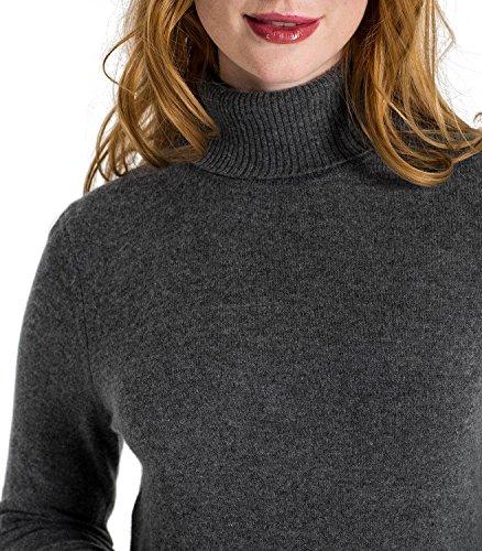 WoolOvers Pull à col roulé - Femme - Cachemire & Mérinos Anthracite