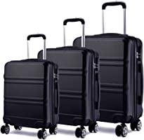 "Kono Lightweight ABS Suitcase 4 Spinner Wheels Trolley Case 3pcs Luggage Set 20"" 24"" 28"" (V Black Set)"