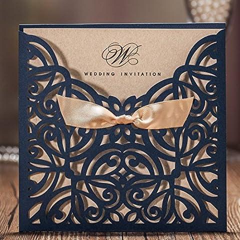 WISHMADE Hochzeitseinladungskarten Blau Blumen Lasercut Spitze Design für Heirat-Geburtstags Party Abschluss Quinceanera ein Blanko Set 50 Stücke inkl Umschläge CW6179B