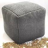 Vivrei Design Fußhocker Grau Füllung aus Bio Natur Füllstoff Dinkel-Schalen Bezug Strick Baumwolle Polsterhocker Hocker Sitzkissen