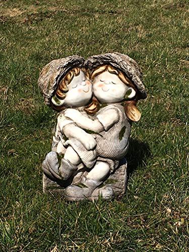 Unbekannt Gartenfigur Junge & Mädchen sitzen auf Baum - Garten, Deko