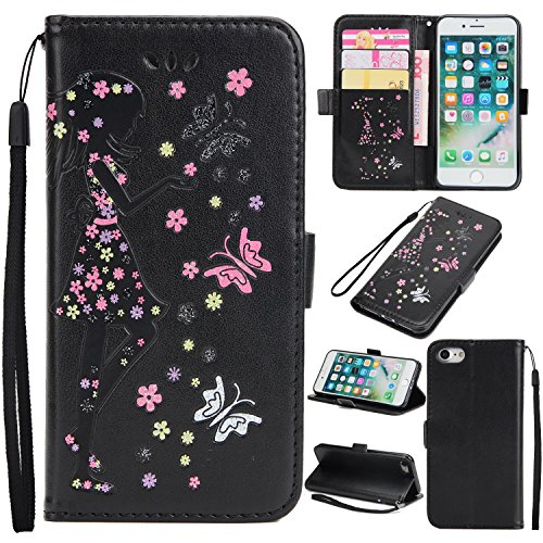 EKINHUI Case Cover Fairy Girl & Flowers Embossing Pattern PU Ledertasche Horizontale Flip Stand Brieftasche Tasche mit Lanyard & Card Slots für iPhone 7 ( Color : Pink ) Black