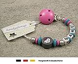 Baby SCHNULLERKETTE mit NAMEN | Schnullerhalter mit Wunschnamen - Mädchen Motiv Hello Kitty in grau, türkis