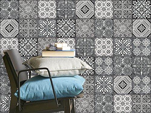 Autocollant en vinyle - adhésif murale Art Stickers | Aménagement de cloison bureau - Embellir salle de bain et cuisine | Recouvrir carreaux de ciment | Design Noir et Blanc | 10x10 cm (40 piéces)
