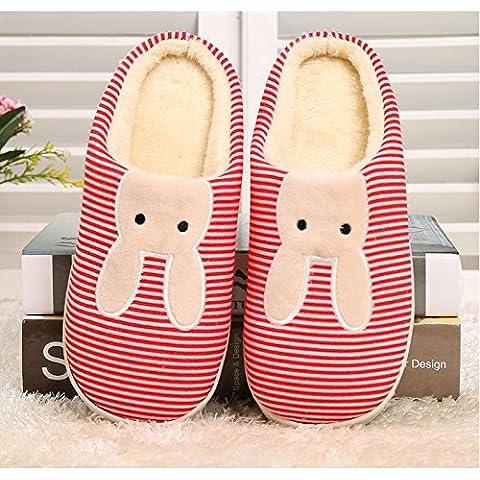 Pavimenti per interni di inverno coppia di coppie di cotone pantofole 2 , big red (1.5 Pvc Slittamento)
