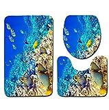 JIXIA Badvorleger 3 stücke Bad Anti Slip Badematte Set Meer Unterwasserwelt Muster Europa Weichen Bad Teppich und Toilet Mat Sets, 6