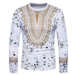 Manadlian Herren Bluse Langarm, Männer Lässig Afrikanisch Drucken O Hals Pullover Langärmelig T-Shirt Oberteile Bluse