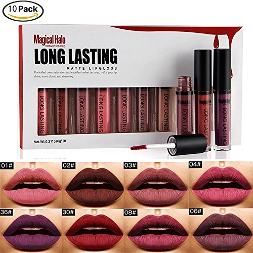 Rechoo 10pcs Sexy Waterproof Make Up Lipstick Liquid Matte Lip Gloss larga duración del lápiz labial Set