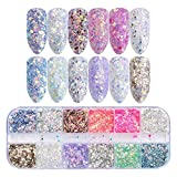 12 Farben Nagel Glitter Set - FOXTSPORT Mixed Irisierende Sechseck Nagel Pailletten Set Mermaid Holographic Effekt für Festival Makeup Body Painting Nail Art Slime & Crafts