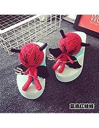 XIAMUO Puppe Hausschuhe Voodoo Puppen Flip Flop Frau Sommer Muffin Dickwandigen 42 schwarze Puppe Schwarz