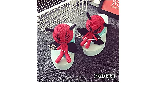 XIAMUO Puppe Hausschuhe Voodoo Puppen Flip Flop Frau Sommer Muffin Dickwandigen 35 kleine One-Side Blau Rot...