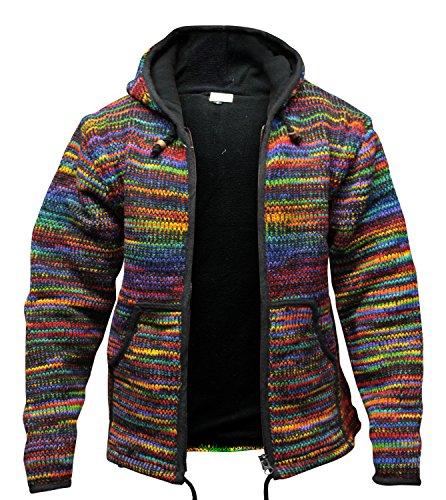 Tyedye Festival à capuche laine veste ,tricotéà la main, hippie, boho , SUPER chaud, Cool