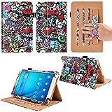 Funda para Samsung Galaxy Tab A6 de 10,1 pulgadas, de Vovipo, funda protectora prémium de piel con función de atril para los modelos T580, T585, con correa de mano y protección de esquinas Flower D