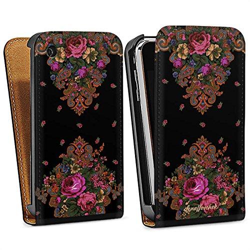 Apple iPhone 5s Housse Étui Protection Coque Lena Hoschek Motif floral Ornements Sac Downflip noir