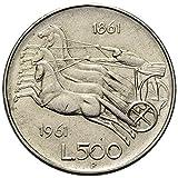 Italia 500 lire Argento'Centenario dell'Unità d'Italia' Bighe (11 gr. - 29 mm.) anno 1961 una moneta da collezione Silver Coin