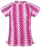 Snapper Rock Mädchen UPF 50+ Sonnen und UV Schutz Schwimmshirt kurzer Arm Rash Top Motiv Federn für Kinder & Teenager, Fushia Feder, 1-2 jahre, 86-92cm