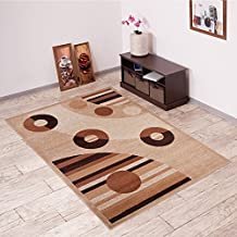 Alfombra De Salón Moderna – Color Beige De Diseño Círculos Grabados – Suave – Fácil De Limpiar – Top Precio – Diferentes Dimensiones S-XXXL 140 x 200 cm