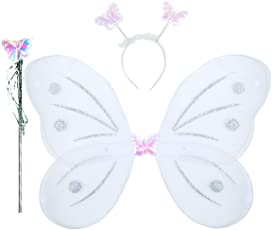 ROYALS Fairy Butterfly Wings Costume for Baby Girl (White)