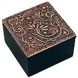 Schmuck-Kästchen, aus Aluminium mit schwarz gefärbtem Holz, Größe 6cm x 6cm x 4cm, Verschiedene Varianten (Lotus klein Kupferfarben)
