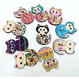 Vollter 50pcs/Pack Gato de la historieta DIY impresión en color de botones de madera botones de madera hecho a mano del gato decorativo