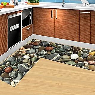 UUOUU 2-Piece Sets Non-slip Stones Design Kitchen Door Soft Rug Bedroom Carpet Washable Bathroom Area Rugs Set (15.7x23.6 + 15.7x47.2 Inch)