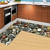 UUUOUU - Juego de 2 alfombras antideslizantes para cocina, suaves y lavables a máquina, juego de alfombras para baño (40 x 60 cm y 40 x 120 cm)