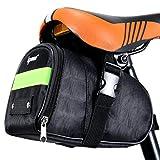 ipow Bolsa de Sillín Bicicleta, Alforja Mochila Multifuncional Ciclismo Bici para Asiento Trasero Montaña Carretera, 840D Nylón Resistente, 18.3X 13.5X 11