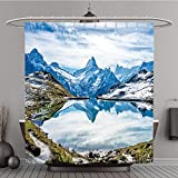 Duschvorhang 323642456Schweizer Alpen Wasser Reflection in bachalpsee Mountain Lake vor Grindelwald Polyester-Schweiz-Bad Vorhang